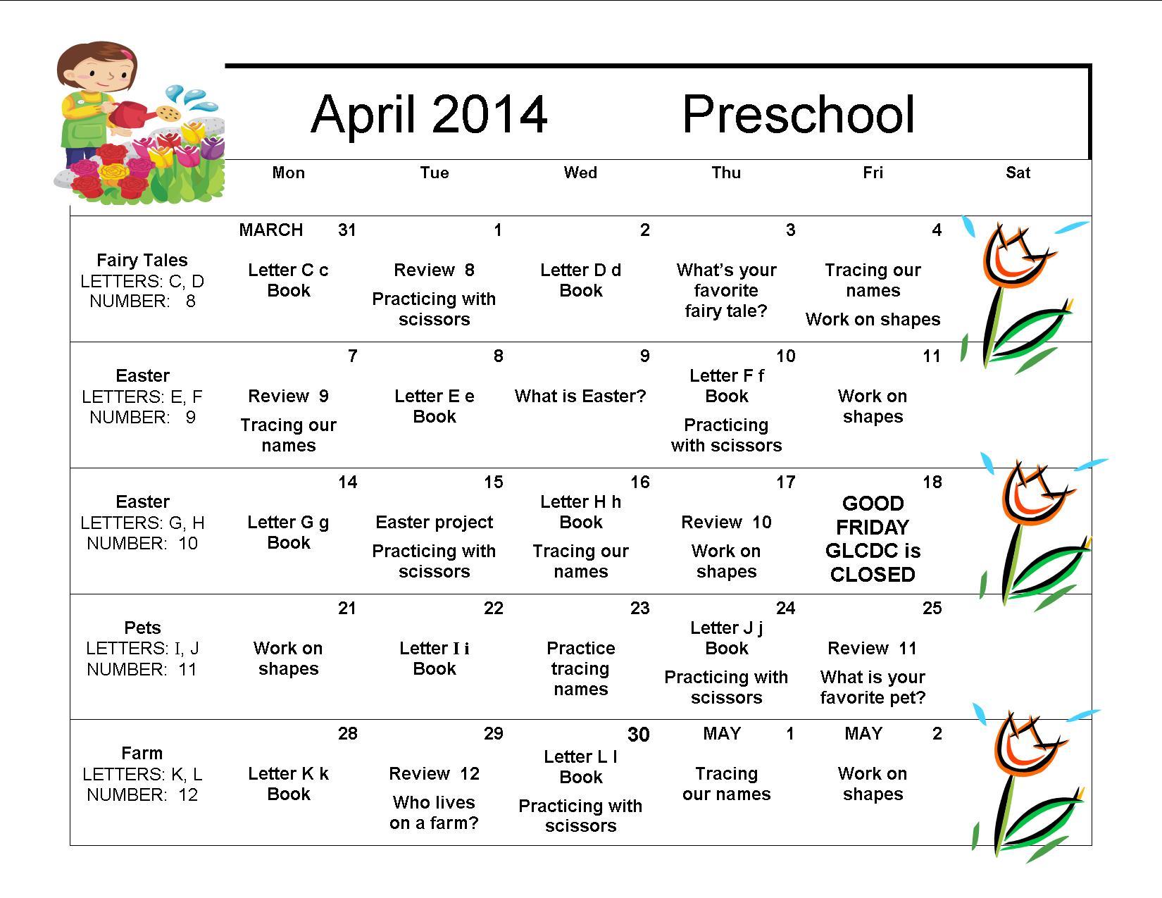 April 2014 Preschool