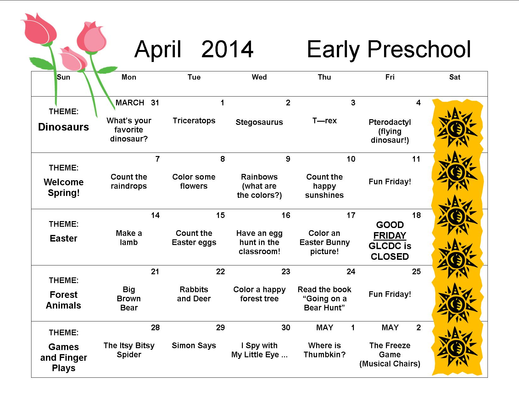 April Calendar S Kindergarten : April early preschool great lakes child development