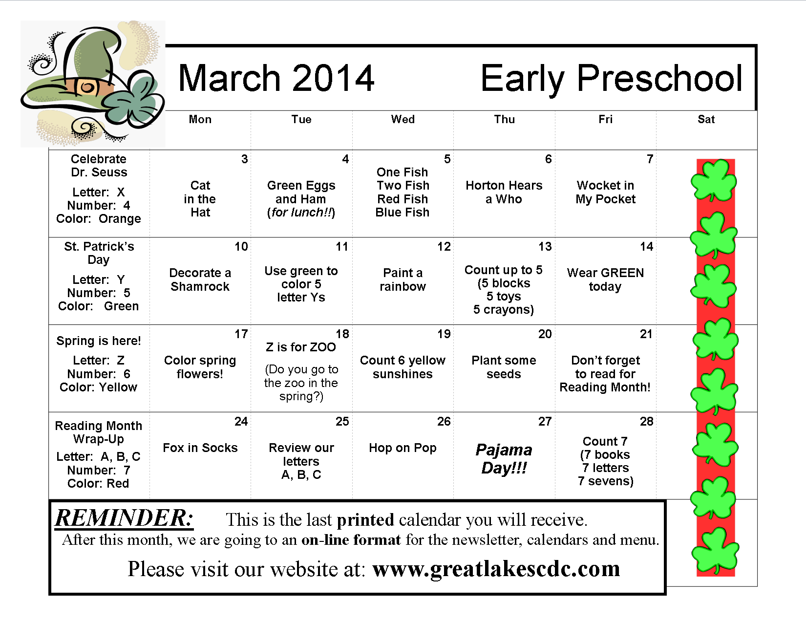 March 2014 Early Preschool